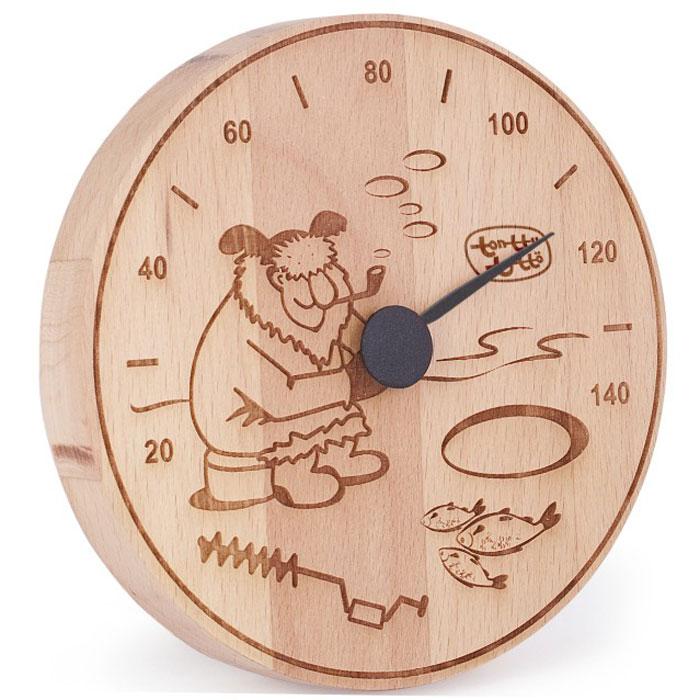 Термометр для бани и сауны Tapio (Тапио). 256531-401Термометры серии Tapio (Тапио) выполнены из древесины бука, обладающего притягательным розоватым цветом, ее плотность прекрасно переносит перепады температуры, что увеличивает срок службы изделий. Созданные для контроля оптимальной температуры в бане и сауне, они задают стиль банного интерьера.Стрелка механизма меняет настроение озорных персонажей термометров в зависимости от температуры. Максимальная измеряемая температура - 140 градусов. Характеристики: Диаметр термометра: 13,5. Материал: дерево, металл. Производитель: Россия. Артикул: 256.