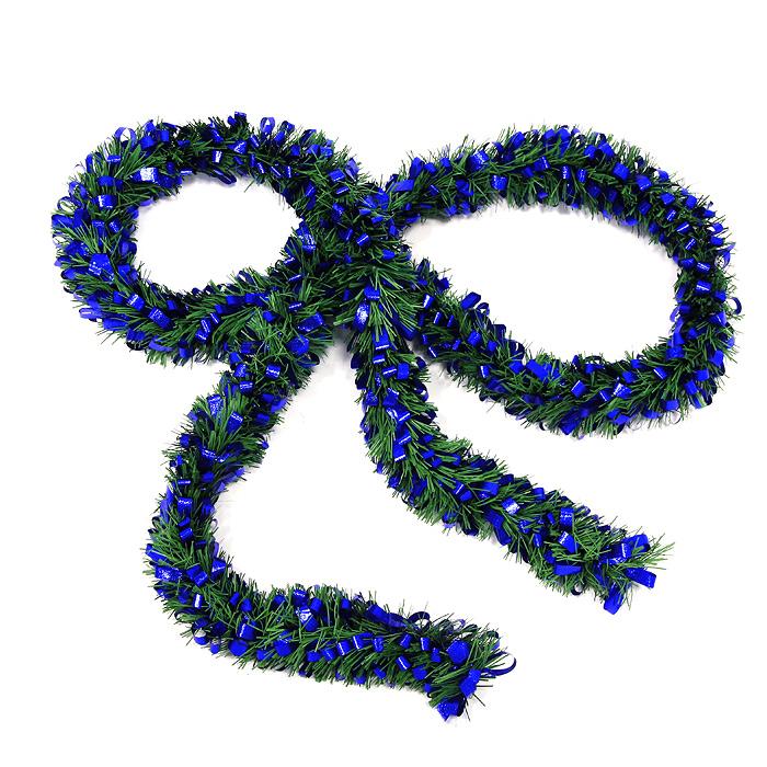 Новогодняя мишура Новый год, цвет: зеленый, синий, 208 смRSP-202SНовогодняя мишура Новый год, выполненная из ПВХ и фольги, поможет вам украсить свой дом к предстоящим праздникам, а новогодняя елка станет намного ярче и привлекательней. Мишура выполнена в виде еловой хвои и украшена ленточками синего цвета.Новогодней мишурой можно украсить все, что угодно - елку, квартиру, дачу, офис - как внутри, так и снаружи. Можно сложить новогодние поздравления, буквы и цифры, мишурой можно украсить и дополнить гирлянды, можно выделить дверные колонны, оплести дверные проемы.Новогодние украшения всегда несут в себе волшебство и красоту праздника. Создайте в своем доме атмосферу тепла, веселья и радости, украшая его всей семьей. Характеристики:Материал: фольга, ПВХ. Длина:208 см. Артикул: 0268-0012.