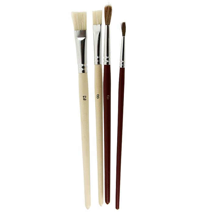 """Кисти """"Nerchau"""" помогут вам воплотить в жизнь любые ваши художественные начинания. Набор включает в себя 2 круглые кисти из волоса пони с номерами 2, 6 и 2 плоские кисти из щетины с номерами 8,12."""