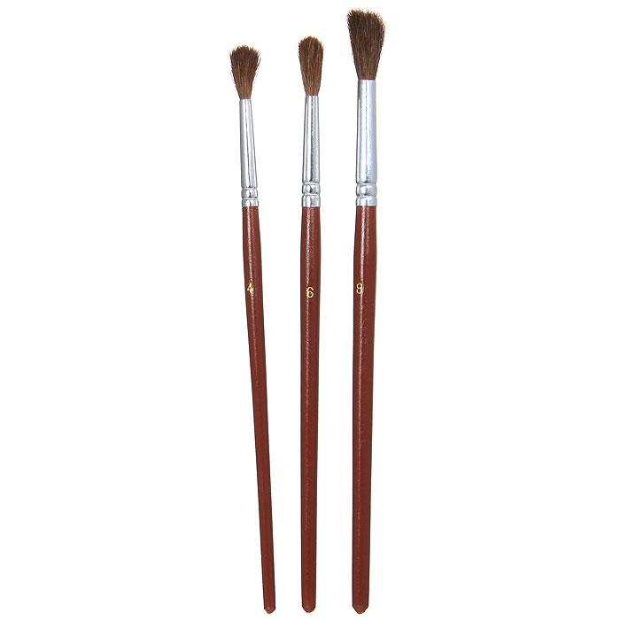 """Кисти """"Nerchau"""" помогут вам воплотить в жизнь любые ваши художественные начинания. Набор включает в себя 3 круглые кисти из волоса пони с номерами 4, 6 и 8."""