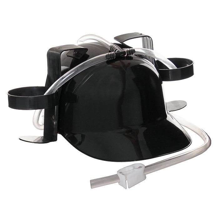 Каска с подставками под банки, цвет: черный92378Черная пластиковая каска с двумя держателями для банок или небольших бутылок и трубкой, через которую можно пить, поможет вам утолить жажду во время движения, не останавливаясь и не занимая рук.Трубка имеет зажим, благодаря которому можно регулировать напор жидкости, и две соединительные трубочки, с помощью которых можно смешивать два различных напитка в виде коктейля. Каска имеет амортизатор, регулирующий глубину посадки каски.Загрузи голову и освободи руки!Характеристики: Высота каски:12 см. Диаметр подставки:7 см. Материал:пластик. Изготовитель:Китай. Артикул: 902378.