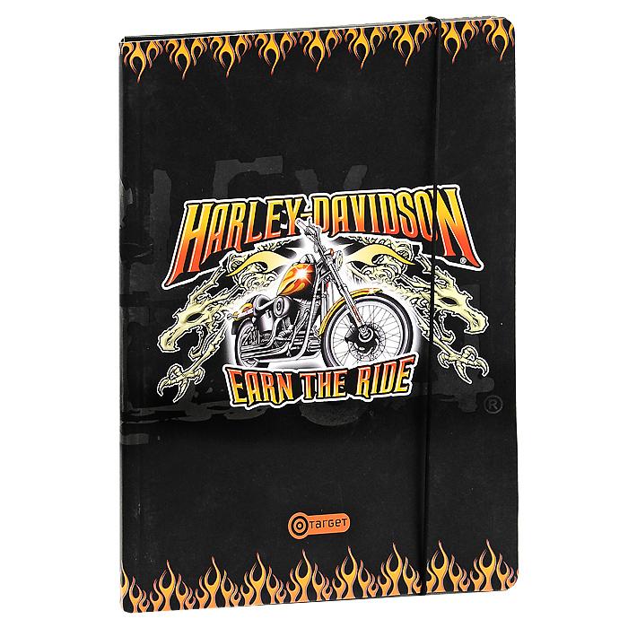 Папка на резинке Harley-Davidson10-1711Удобная большая папка Harley-Davidson из картона, на резинке идеально подойдет для транспортировки и хранения рисунков. Резинка не позволит папке раскрыться в неподходящий момент. Характеристики: Материал: картон, текстиль.Формат папки: А4.