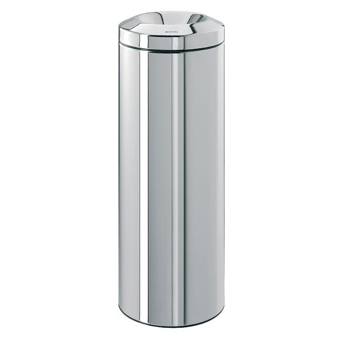 Корзина для бумаг Brabantia Flame Guard, с защитой от возгорания, цвет: стальной полированный, 20 л