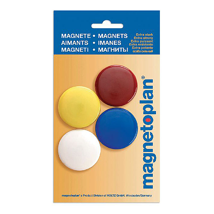 """Разноцветные сигнальные магниты """"Magnetoplan"""" не позволят потерять важную идею при проведении семинаров, мозговых штурмов или презентаций. Особо сильные, они оснащенные цельными ферритными стержнями, помогут не только надежно прикрепить листы бумаги на любой железной или стальной поверхности."""