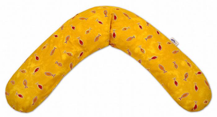 Подушка Theraline Рыбы для беременных и кормящих мам, цвет: желтый, 190 см531-401Подушка Theraline Рыбы, предназначенная для беременных и кормящих мам, позволяет принять удобное положение во время сна, отдыха на больших сроках беременности и кормления грудничка.На последних месяцах беременности использование подушки во время сна или отдыха снимает напряжение с позвоночника и рук, а также предотвращает затекание ног. При кормлении грудью подушка помогает уменьшить нагрузку на руки, плечи и шею. Подушка Theraline также подходит людям, которым необходим постельный режим по медицинским показаниям.Чехол подушки выполнен из 100% хлопка и снабжен застежкой-молнией, что позволяет без труда снять и постирать его. Наполнителем подушки служат микроскопично маленькие полистироловые шарики (EPS-Microperlen) размером 0,5-1,5 мм, не имеющие запаха и абсолютно безвредные для здоровья. Характеристики: Размер подушки (по внешнему шву): 190 см x 40 см. Объем: 40 л. Цвет: желтый. Материал верха: 100% хлопок. Наполнитель: полистироловые шарики (EPS-Microperlen).
