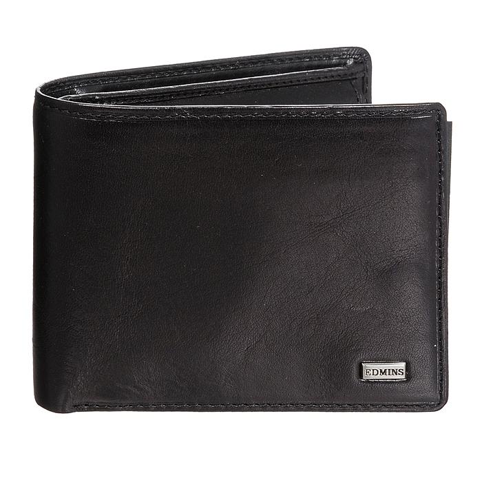 Портмоне Edmins, цвет: черный. 1842 ML ED black1-022_516Стильное портмоне Edmins, выполненное из натуральной кожи черного цвета, станет стильным аксессуаром, идеально подходящим вашему образу. Внутри: три отделения для купюр, карман для мелочи на кнопке, три кармашка для мелких бумаг, шесть карманов для кредитных карт или визиток, два кармана с пластиковыми окошками и два дополнительных кармана для бумаг. Портмоне упаковано в коробку из плотного картона с логотипом фирмы. Характеристики: Материал:натуральная кожа, металл, текстиль. Размер портмоне:11,5 см x 9,5 см х 3 см. Цвет:черный. Размер упаковки:13,5 см x 10,5 см x 3,5 см. Производитель:Италия. Артикул:1842 ML ED black.
