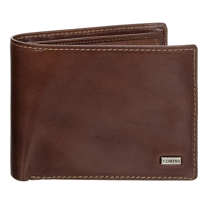 Портмоне Edmins, цвет: коричневый. 1842 ML ED brownINT-06501Стильное портмоне Edmins, выполненное из натуральной кожи коричневого цвета, станет стильным аксессуаром, идеально подходящим вашему образу. Внутри: три отделения для купюр, карман для мелочи на кнопке, три кармашка для мелких бумаг, шесть карманов для кредитных карт или визиток, два кармана с пластиковыми окошками и два дополнительных кармана для бумаг. Портмоне упаковано в коробку из плотного картона с логотипом фирмы.Характеристики: Материал:натуральная кожа, металл, текстиль. Размер портмоне:11,5 см x 9,5 см х 3 см. Цвет:коричневый. Размер упаковки:13,5 см x 10,5 см x 3,5 см. Производитель:Италия. Артикул:1842 ML ED brown.