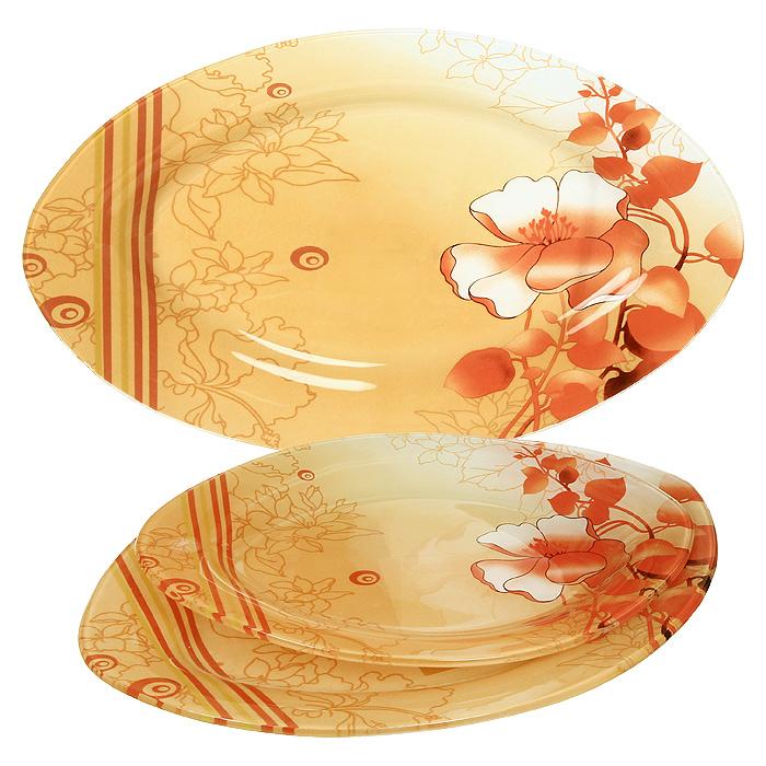 Набор блюдZibo Красный цветок 3 шт S4501A-3-C021VT-1520(SR)Набор блюд Красный цветок выполнен из стекла и декорирован изображением яркого, но в тоже время и нежного цветка, на переходящем от светлого к темно-оранжевому фоне. Набор состоит из трех блюд разного размера, овальной формы. Такой набор непременно украсит ваш праздничный стол. Характеристики: Материал: стекло. Размер большого блюда: 35,5 см х 23,5 см. Размер среднего блюда: 30 см х 20,5 см. Размер малого блюда: 25 см х 17,5 см. Размер упаковки: 36 см х 24 см х 3,8 см. Производитель: Китай. Артикул: S4501A-3-C021.