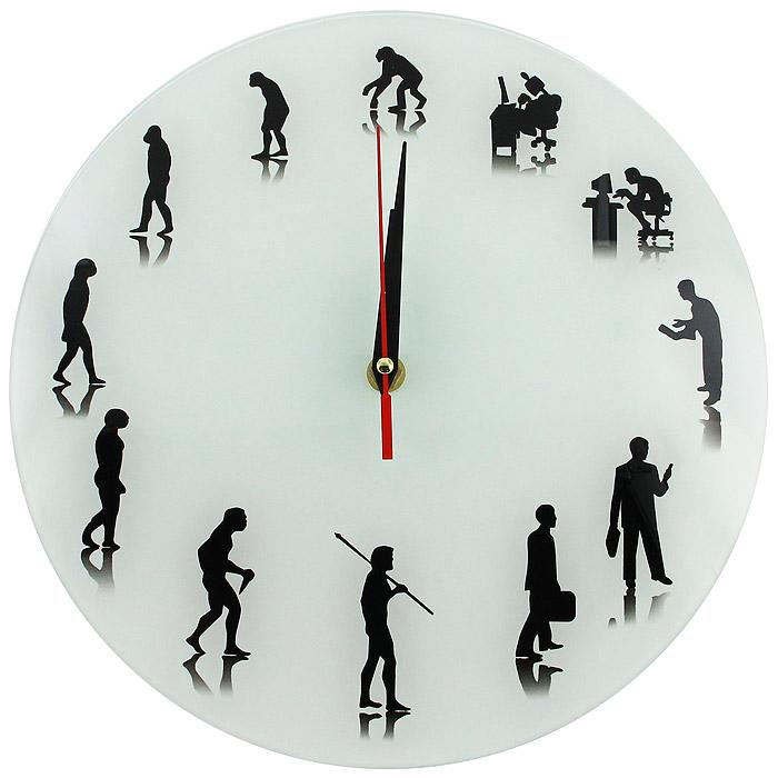 Настенные античасы Эволюция часы эврика античасы классика белая стеклянные