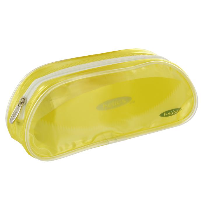 """Стильный пенал """"Helios"""" овальной формы, изготовленный из прозрачного пластика яркого желтого цвета, предназначен для хранения и транспортировки канцелярских принадлежностей и предметов для детского творчества. Пенал состоит из одного вместительного отделения закрывающегося на надежную застежку-молнию, обеспечивающую легкий доступ к содержимому пенала. Пластиковая окантовка придает жесткость для сохранения формы."""
