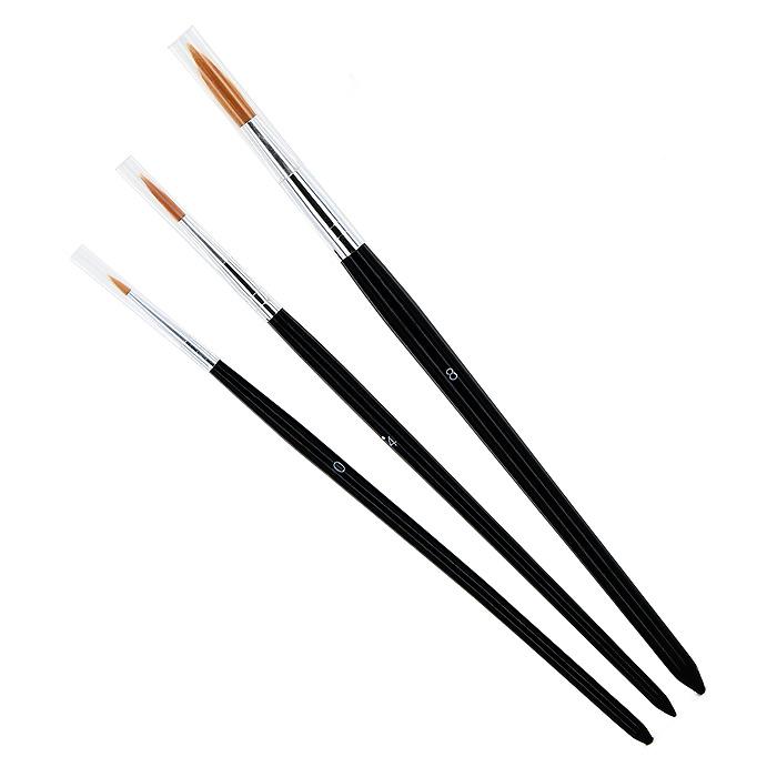 """Кисти """"Nerchau"""" из синтетического волоса универсальны и помогут вам воплотить в жизнь любые ваши художественные начинания. Идеально подходят для рисования акриловыми красками, рисования по ткани, декупажа и салфеточной техники, любительской живописи. В наборе круглые кисти №0, №4, №8."""