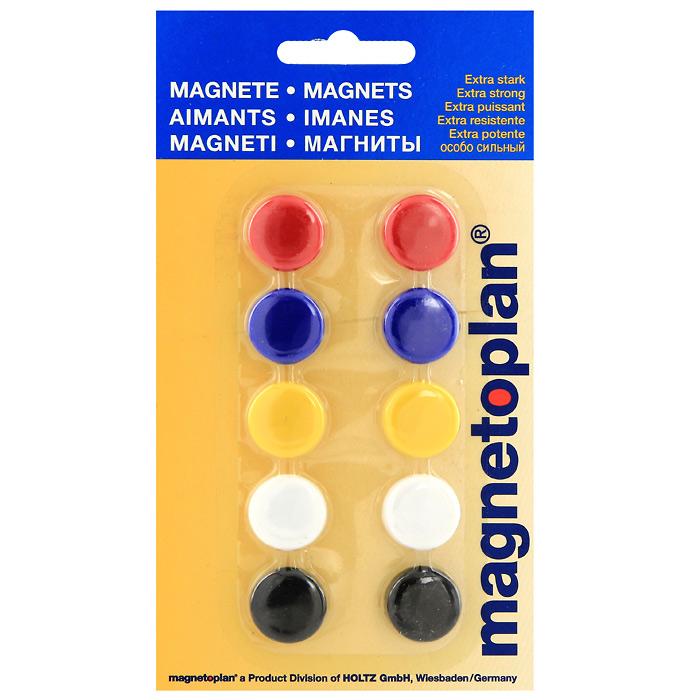 """Разноцветные сигнальные магниты """"Magnetoplan"""" не позволят потерять важную идею при проведении семинаров, мозговых штурмов или презентаций. Особо сильные, они оснащенные цельными ферритными стержнями, помогут не только надежно прикрепить листы бумаги на любой железной или стальной поверхности. В наборе магниты красного, синего, желтого, белого и черного цветов."""