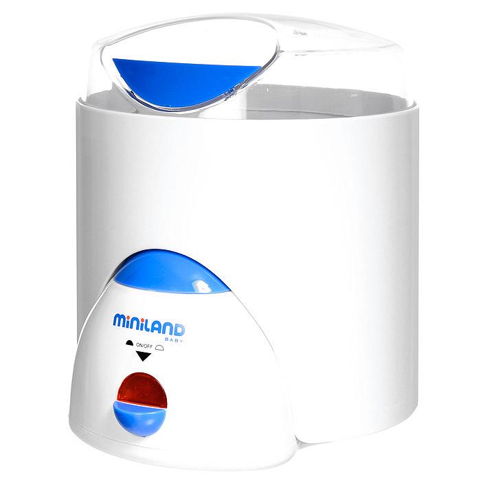 """Нагреватель-стерилизатор """"Miniland"""" имеет различные функции для здорового питания: нагревание от одной до шести бутылочек за один раз, стерилизация бутылочек с сосками и принадлежностями, приготовление пищи на пару и варка яиц. Нагревательная поверхность прибора изготовлена из нержавеющей стали. Он легок и прост в использовании и уходе, удобен при транспортировке и хранении."""