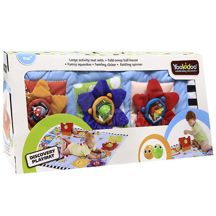"""Симпатичный развивающий коврик станет первой площадкой для игр вашего малыша. Прямоугольный коврик выполнен из необычайно мягкого и приятного на ощупь материала разных цветов и текстур и абсолютно безопасен для ребенка. На поверхности коврика изображены забавные птички, веселое пугало, лягушка, овощи, солнышко и деревце, которые непременно привлекут внимание вашего крохи. Коврик оформлен тремя цветочками с шуршащими лепестками, в центре которых расположены три игрушки для развития рефлекторной активности с функциями """"щелчок"""", """"толчок"""", """"поворот"""", вокруг игрушек размещено внутреннее зеркало, которое делает игру еще интересней. Также коврик снабжен складным домиком с круглыми отверстиями и двумя гремящими шариками с глазками. Коврик поможет малышу развить тактильное, звуковое и цветовое восприятия, координацию движений и мелкую моторику рук с самого рождения."""