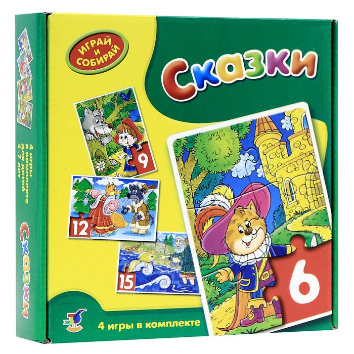 """В комплекте мозаик """"Сказки"""" вы найдете четыре мозаики с забавными изображениями, состоящие из 6, 9, 12 и 15 элементов. Игры-мозаики учат детей собирать простые картинки, подбирать детали по форме и изображению, способствуют развитию внимания, наблюдательности, наглядно-образного мышления, усидчивости и мелкой моторики рук."""