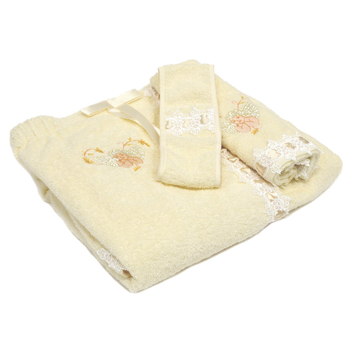 Комплект для бани и сауны SL, цвет: бежевый, 3 предмета. 05069787502Банный комплект SL, выполненный из натуральной и прочной махровой ткани, включает: парео, полотенце и повязку на голову. Предметы комплекта украшены вышивкой в виде ангелочков (кроме повязки), белыми кружевами и атласной лентой в тон основной ткани. Банный комплект SL подарит массу положительных эмоций и приятных ощущений для всех любительниц пара. Характеристики: Материал: 100% хлопок. Цвет: бежевый. Размер упаковки: 41 см х 30 см х 6 см. Изготовитель: Китай. Артикул: 05069. В комплект входит: Парео - 1 шт. Размер: 90 см х 150 см. Полотенце - 1 шт. Размер: 57 см х 34 см. Повязка на голову - 1 шт. Размер: 8 см х 64 см. Soft Line - мягкая эстетика для вас и вашего дома! Основанная в 1997 году, компания Soft Line является путеводителем по мягкому миру текстиля, полному удивительных достопримечательностей!Высочайшее качество тканей в сочетании с эксклюзивным дизайном и изысканными отделками неизменно привлекают как требовательно покупателя, так и взысканного профессионала!Компания Soft Line предлагает широчайший ассортимент высококачественной продукции разных стилей и направлений. Это и постельное белье из тканей различных фактур и орнаментов, а также уютные пледы, покрывала, стильные пляжные наборы, очаровательные комплекты для маленьких эстетов, воздушные банные халаты для их родителей, текстиль для гостинец и домов отдыха, удобные матрасы и практичные наматрасники, изысканные шторы и разнообразное столовое белье…