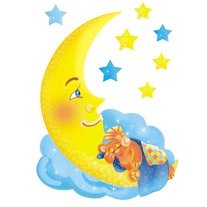 Украшение для стен и предметов интерьера Мишка на луне, светящееся в темноте
