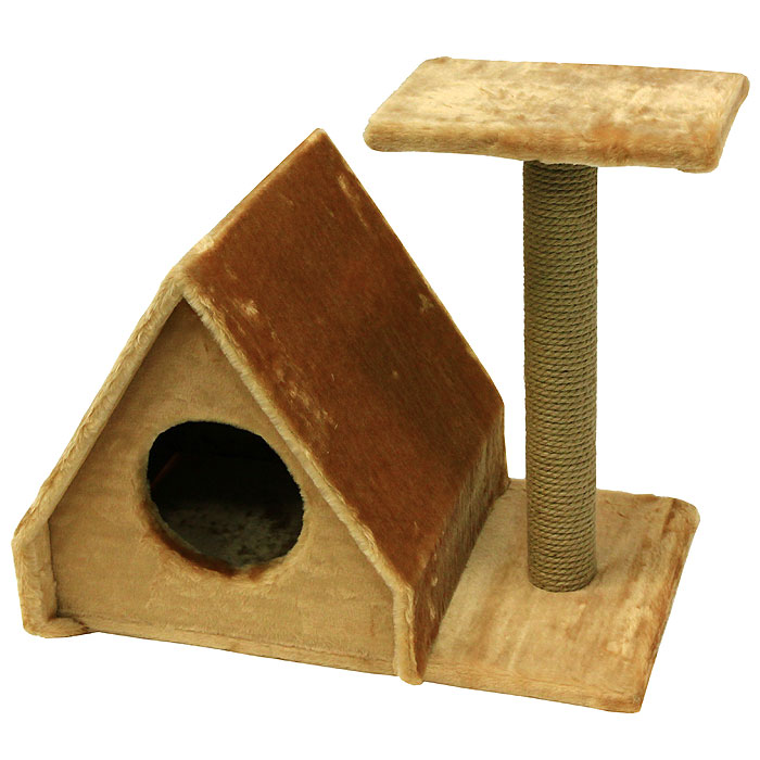 Домик для кошек Пушок Избушка, с когтеточкой, цвет: светло-коричневый, 43 х 40 х 41 см0120710Большой, уютный домик Пушок Избушка с когтеточкой, изготовленный из ДСП, сизаля и искусственного меха, отлично подойдет для котят и взрослых кошек. Домик выполнен в виде избушки. Сбоку устанавливается когтеточка со ступенькой. Такой домик станет не только идеальным местом для подвижных игр вашего любимца, но и местом для отдыха. Благодаря столбику-когтеточке, обернутой веревками из сизаля, ваша кошка удовлетворит природную потребность точить когти, что поможет сохранить вашу мебель и ковры. Для приучения любимца к когтеточке можно натереть ее сухой валерьянкой или кошачьей мятой.Диаметр отверстия: 18 см.Длина когтеточки: 49 см.Размер ступеньки: 30 см х 20 см.Размер основания: 60 см х 37 см.