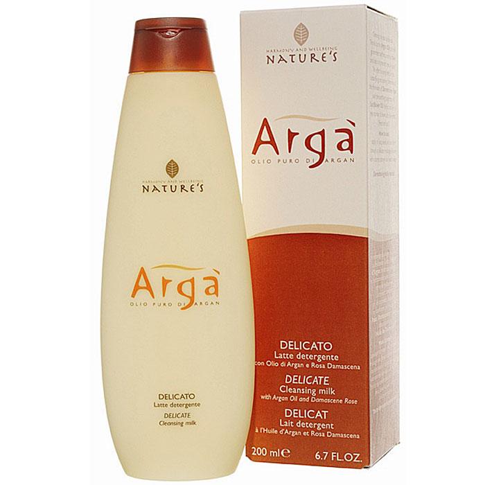 Молочко очищающее Natures Arga, деликатное, 200 млFS-36054Очищающее молочко Natures Arga для ежедневного ухода за кожей лица, шеи, области декольте и глаз содержит аргановое масло, богатое ненасыщенными жирными кислотами и антиоксидантными веществами. Питает, увлажняет, замедляет процесс преждевременного старения кожи, потери упругости и эластичности. Гарантирует мягкость и отсутствие стянутости кожи, обладает тонизирующими свойствами. Идеально подходит для снятия макияжа. Особенно рекомендуется для обезвоженной кожи. Способ применения: нанести легкими массажными движениями пальцев рук или с помощью мягкого спонжа на предварительно очищенную кожу лица. Затем смыть теплой водой. Характеристики:Объем: 200 мл. Производитель: Италия. Артикул:60150101. Товар сертифицирован.