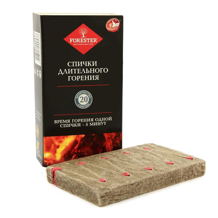 Спички Forester, длительного горения, 20 штKOC2028LEDСпички Forester длительного горения предназначены для разведения огня. Время горения одной спички - не менее 5 минут. Характеристики:Состав: прессованная древесная стружка, парафин, зажигательная смесь. Размер упаковки: 12 см х 6,5 см х 2,8 см. Количество спичек: 20. Артикул: BC-782. Изготовитель: Россия.FORESTER - бренд с широкими интернациональными традициями и в этом секрет его успеха.FORESTER впитал в себя самое лучшее из созданного предшественниками, поэтому продукция фирмы - это все самое качественноедля вашего пикника!Разработано компанией Ruyan Co, Германия.