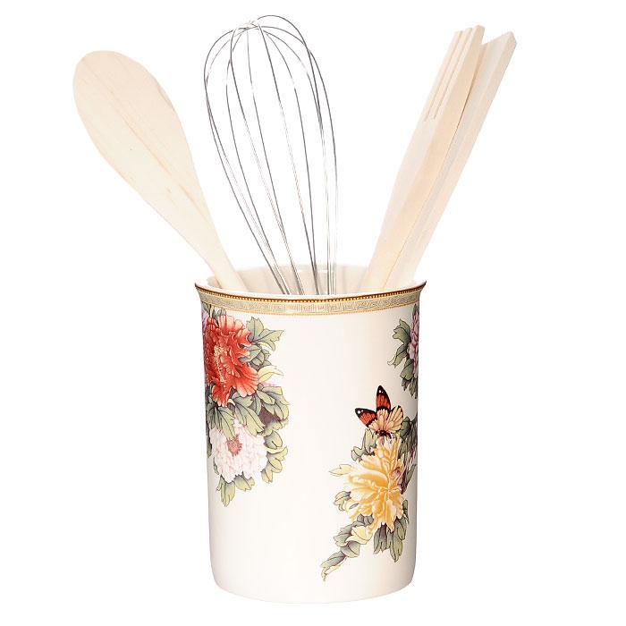 Подставка с кухонными принадлежностями Японский сад, 5 предметовВетерок 2ГФПодставка с кухонными принадлежностями Японский сад идеально впишется в интерьер вашей кухни. Подставка выполнена из керамики и оформлена красочным рисунком. Дизайн, эстетичность и функциональность подставки позволят ей стать достойным дополнением к кухонному инвентарю. В комплект входят: металлический венчик, деревянные лопатка, вилка и ложка. Каждая хозяйка знает, что подставка для кухонных принадлежностей - это незаменимый и очень полезный аксессуар на каждой кухне. Поэтому такая подставка с кухонными принадлежностями будет отличным подарком! Характеристики:Материал:керамика, дерево, металл.Диаметр подставки по верхнему краю:10 см.Высота подставки:13 см. Средняя длина кухонных принадлежностей:25 см. Размер упаковки:10,5 см х 26 см х 10,5 см.Изготовитель:Китай.Артикул:IM55002-1730AL.Изделия торговой марки Imari произведены из высококачественной керамики, основным ингредиентом которой является твердый доломит, поэтому все керамические изделия Imari - легкие, белоснежные, прочные и устойчивы к высоким температурам. Высокое качество изделий достигается не только благодаря использованию особого сырья и новейших технологий и оборудования при изготовлении посуды, но также благодаря строгому контролю на всех этапах производственного процесса. Нанесение сверкающей глазури, не содержащей свинца, придает изделиям Imari превосходный блеск и особую прочность.Красочные и нежные современные декоры Imari - это результат профессиональной работы дизайнеров, которые ежегодно обновляют ассортимент и предлагают покупателям десятки новый декоров. Свою популярность торговая марка Imari завоевала благодаря высокому качеству изделий, стильным современным дизайнам, широчайшему ассортименту продукции, прекрасным подарочным упаковкам и низким ценам. Все эти качества изделий сделали их безусловным лидером на рынке керамической посуды.