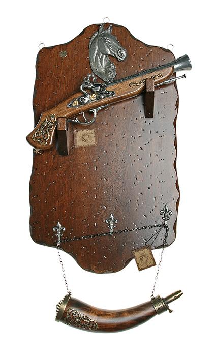 Коллаж Пистоли и рожок для пороха, 58 х 38 х 15 см74-0060Коллаж выполнен в виде деревянного поля с расположенными на нем пистолями и рожком для пороха, которые являются точными репликами оружия XVII - XVIII вв. Предметы украшены богатым литым декором и чеканкой.Копии выглядят очень реалистично, отличаются только конструктивным ограничением и материалом изготовления. Оружие настолько похоже на настоящее, что только специалист внешне сможет найти отличия!Сувенирное оружие - это великолепная идея для подарка любимому мужчине или особого презента партнеру по бизнесу! Если Вы заядлый коллекционер, то добавление нового декоративного оружия к своей коллекции будет ярким и приятным моментом в Вашей жизни. Сувенирное оружие - это оригинальное украшение вашей квартиры или офиса. Оно станет прекрасным дополнением интерьера, придаст ему изысканности, стиля и вместе с тем брутальной мужественности! Характеристики: Материал: дерево, металл (сплав латуни). Производитель: La Balestra (Италия).3 крючка для ключей. Размер:58 х 38 х 15 см. Артикул: 31621.