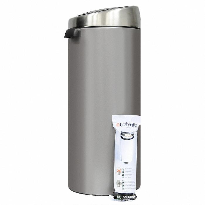 Мусорный бак Brabantia Touch Bin, 30 л. 399664531-105Мусорный бак Touch Bin выполнен из гальванизированой стали. Особенности мусорного бака Touch Bin: система закрытия brabantia -soft-touch;открытие крышки нажатием;съемная крышка из нержавеющей стали;пластиковый защитный ободок (не царапает пол);внутренняя корзина из пластика со специальными вентиляционными отверстиями для предотвращения образования вакуума при извлечении полного пакета;металлическая ручка на корзине;ручка для переноса;крышка закрывается\открывается бесшумно, плотно прилегает, предотвращая распространение запаха;фирменные мусорные мешки в комплекте. Характеристики: Материал:металл, пластик. Объем:30 л. Высота бака (с учетом крышки):72 см. Общий диаметр бака:28 см. Размер упаковки:75 см х 30 см х 30 см. Производитель:Бельгия. Артикул:399664.Гарантия производителя: 5 лет.