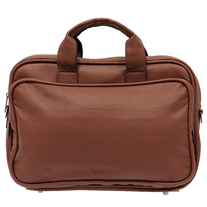 Сумка Antan Dress Code, цвет: коричневый. 8-48А10130-11Сумка Antan Dress Code, выполненная из искусственной кожи коричневого цвета, оформлена тисненым логотипом бренда на одной из сторон. На дне сумки имеются металлические накладки, которые защитят дно от повреждений. Сумка состоит из одного отделения, закрывающегося на застежку-молнию. Внутри два накладных кармана из сетчатой ткани. На внешней стороне с двух сторон располагаются два больших накладных кармана на застежке-молнии. К сумке прилагается съемный регулируемый ремень.Сумка - это стильный аксессуар, который подчеркнет вашу изысканность и индивидуальность и сделает ваш образ завершенным. Характеристики:Цвет: коричневый.Материал: искусственная кожа, текстиль, металл.Размер сумки: 40 см х 27 см х 14 см.Высота ручек: 7 см.Производитель: Россия.Артикул: 8-48А. Компания Antan существует уже более 10 лет. Свою деятельность она начинала с выпуска дамских сумок, сейчас в ассортименте представлен большой выбор молодежных, дорожно-спортивных, деловых, универсальных сумок, а так же клатчей и маленьких сумочек.Мир моды не стоит на месте, и, следуя тенденциям, компания Antan старается как можно чаще радовать покупателей новыми моделями сумок. Технологии XXI века позволяют производить износостойкие и современные материалы, в которых модельеры и технологи ценят безграничные возможности выбора фактур и цветовых решений.
