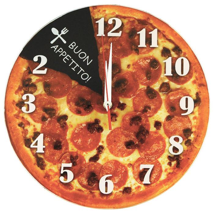 Настенные античасы Пицца. 9310140720Настенные кварцевые античасы Пицца своим оригинальным дизайном подчеркнут стиль интерьера вашего дома. Циферблат часов оформлен изображением пиццы. Часы выполнены с обратным механизмом хода (стрелки идут в обратную сторону), цифры расположены на циферблате против обычного хода часовой стрелки. Такие часы украсят комнату и привлекут внимание друзей и близких.Характеристики: Материал: металл, пластик, стекло. Размер часов: 28 см х 28 см х 2,5 см. Размер упаковки: 28,5 см х 30 см х 5 см. Артикул:93101.Необходимо докупить 1 батарею напряжением 1,5V типа АА (не входит в комплект).