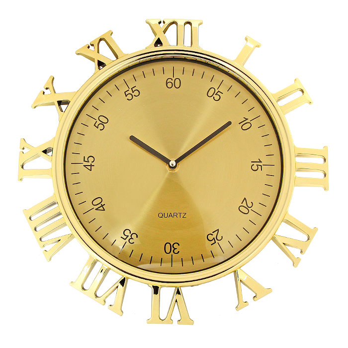 Часы настенные Римские цифры, цвет: золотистый54 009312Настенные кварцевые часы Римские цифры, оформленные под золото, своим изысканным дизайном подчеркнут оригинальность интерьера вашего дома. Корпус часов выполнен в круглой оправе, защищенной прозрачным пластиком, внутри которого распложены две стрелки - часовая и минутная и цифры, обозначающие минуты. Циферблат часов выполнен снаружи корпуса в виде римских цифр. Такие часы послужат отличным подарком для ценителя ярких и необычных вещей. Характеристики:Материал: пластик, металл. Цвет: золотистый. Общий диаметр часов (с учетом наружных цифр): 30 см. Диаметр циферблата с минутными цифрами: 23 см. Размер упаковки: 31 см х 33,5 см х 5 см. Изготовитель: Китай. Артикул: 92955. Необходимо докупить батарейку типа АА (не входит в комплект).