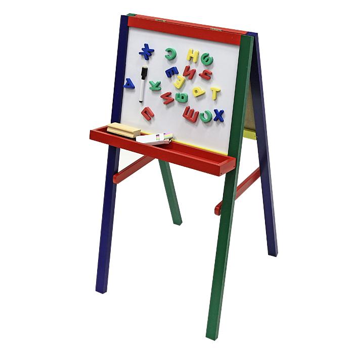 """Комбинированная доска """"Игрушки из дерева"""" может использоваться как доска для рисования, так и основа для наборов магнитных букв, цифр и знаков, магнитной мозаики, касс букв и цифр на магнитах. В комплект входят доска комбинированная, мел, губка, маркер на водной основе и набор букв. Устойчивый планшет делает занятия на доске удобными и практичными. Занимаясь с ребенком, с помощью этой доски вы постепенно подготовите ребенка к школьным занятиям и спасете стены вашего жилья от росписи юным художником. Доска легко складывается и становится плоской, не занимая много места при хранении."""
