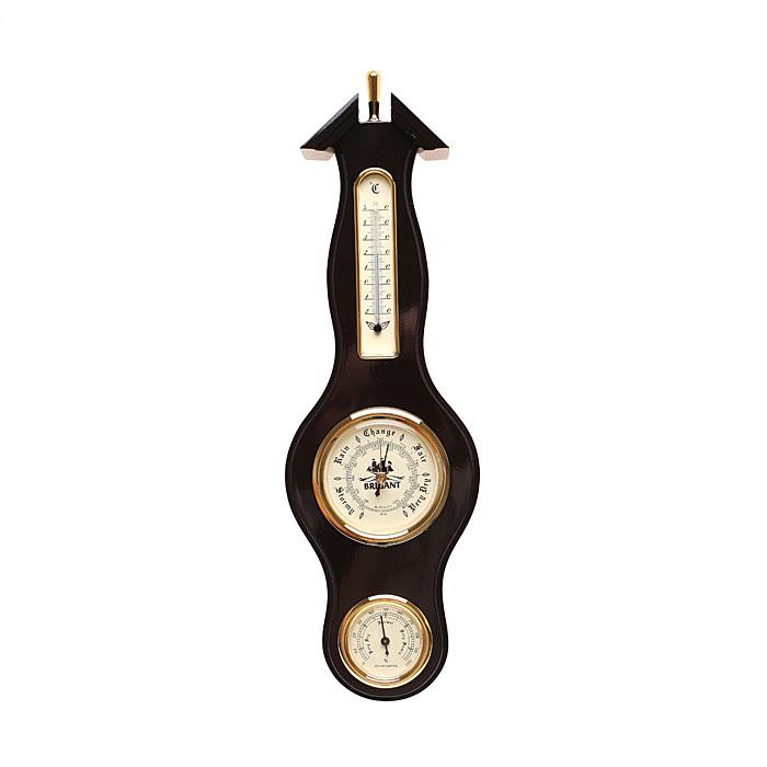 Метеостанция: барометр, термометр, гигрометр, цвет красное деревоTHN132NВысота 38 см. Напанели расположены три прибора, которые одновременно показывают давление (барометр), температуру (термометр) и влажность (гигрометр) воздуха. Модель выполнена в морском стиле. Хромировка под золото иблагородный цвет панелисделают этот предмет настоящим украшением вашего интерьера. Характеристики: Материал:МДФ, стекло, бумага, керосин, металл, пластмасса.Производитель:КИТАЙ. Артикул: 28121.