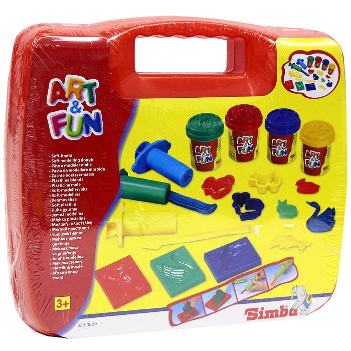 Simba Набор пластилина Art & Fun в чемоданчике, цвет: красный72523WDС набором пластилина Art & Fun ваш малыш сможет создать множество ярких поделок. В набор также входят: четыре баночки с пластилином, десять формочек, ножик, три шприца. Лепка из пластилина способствует развитию мелкой моторики рук, воображения, творческих способностей и надолго займет ребенка интересным занятием.Характеристики:Материал: пластик, пластилин. Размер баночки с пластилином: 6 см х 5 см х 5 см. Средний размер формочки: 4,5 см х 4,5 см х 1,5 см.Длина ножа: 13 см.Размер упаковки: 26 см х 23 см х 5,5 см.Изготовитель: Китай.