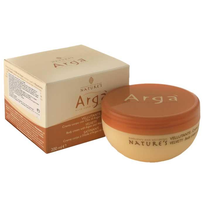 Крем для тела Natures Arga, бархатный, 200 млC3841810Бархатный крем для тела Natures Arga идеальное средство для сухой и обезвоженной кожи, активно восстанавливает природный уровень влаги. Обладает антиоксидантными свойствами. Питает, помогает бороться с преждевременным старением, потерей упругости и эластичности кожи. Тонизирует и уменьшает покраснения. Мягкая легкая текстура крема способствует быстрому впитыванию, не оставляя жирных следов. Кожа становится более упругой, шелковистой и сияющей.Способ применения: наносите легкими массажными движениями на кожу тела до полного впитывания. Характеристики:Объем: 200 мл. Производитель: Италия.Артикул:60150601.Товар сертифицирован.