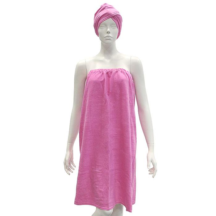 Комплект женский для бани и сауны Eva, цвет: ярко-розовый. Размер XS-LБ26Женский комплект для сауны и бани Еvа состоит из парео и чалмы. Парео посажено на резинку и застегивается с помощью липучки. Накидку можно использовать не только как парео, но и как коврик для бани или полотенце.Парео и чалма выполнены из махровой ткани.Комплект создан для активных и уверенных в себе людей. Отдых в сауне или бане - это полезный и в последнее время популярный способ времяпровождения, комплект Eva обеспечит вам комфорт и удобство. Характеристики:Материал: хлопок. Длина парео: 85 см. Максимальная ширина парео: 66 см. Длина чалмы: 67 см. Размер: XS-L. Цвет: ярко-розовый. Производитель: Россия. Артикул: Б26.