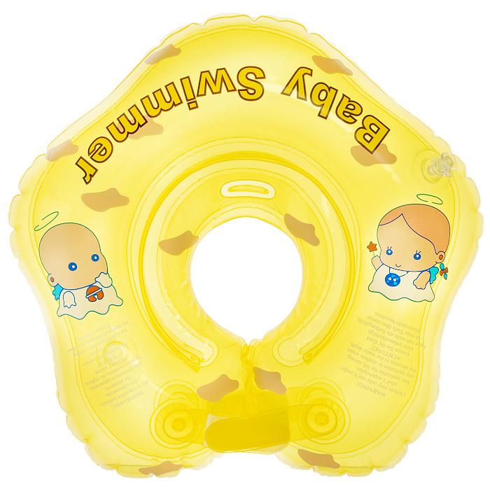 """Круг на шею """"Baby Swimmer"""" с погремушкой внутри предназначен для купания малышей с рождения в домашних условиях или на открытом воздухе на глубине не более 1 метра. Одетый на шею ребенка круг не доставляет малышу никакого дискомфорта, ввиду применения технологии """"внутреннего шва"""", который делает края мягкими на ощупь. На внутренней стороне круга имеется вставка для подбородка ребенка, которая надежно фиксирует его положение и препятствует соскальзыванию. Двусторонняя липкая застежка сверху и снизу круга обеспечивает повышенную безопасность и позволяет регулировать внутренний размер круга, что делает возможность получить комфортное прилегание к шее ребенка. А благодаря двум раздельным контурам, надувающимся отдельно, создается дополнительная безопасность во время купания ребенка. Круг """"Baby Swimmer"""" является отличным помощником для родителей и большой радостью для детей, так как дает им возможность полной свободы действия в воде! Круг на шею изготовлен из..."""