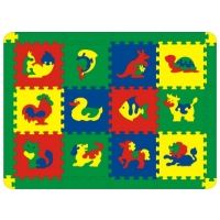 """Коврик-пазл """"Животные"""" надолго займет внимание вашего малыша. Пазл состоит из 12 разноцветных плиток с животными. Игры с ковриком-пазлом """"Животные"""" способствуют развитию у малышей мелкой моторики рук, тактильных ощущений, фантазии, способности анализировать и сопоставлять детали, знакомят их с цифрами и понятиями формы, размера и цвета предмета. Коврик-пазл выполнен из экологически безопасного полимерного материала, обладающего большой плотностью, высоким сопротивлением нагрузкам на разрыв и сгиб, теплоизоляционными качествами и способностью сохранять форму и гибкость при охлаждении. Это обеспечивает комфорт и удобство в использовании в виде напольного покрытия в детской и ванной комнате, в спортивном зале."""