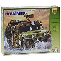 """Сборная модель """"Американский армейский вездеход """"Хаммер"""" привлечет внимание не только ребенка, но и взрослого и позволит своими руками создать уменьшенную копию известной боевой машины. Наиболее интересный вариант состоящего на вооружении армии США бронированного автомобиля М998 HMMWV """"Hummer"""", рассчитанного на 8 человек. Он используется для выполнения специальных миссий в ходе антитеррористических операций, а также может забрасываться транспортными самолетами за линию фронта для действий в тылу противника. Автомобиль оснащен крупнокалиберным пулеметом М2 """"Браунинг"""", но может нести и другое вооружение."""