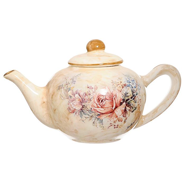 Чайник заварочный Элианто, 800 мл115610Заварочный чайник Элианто поможет вам в приготовлении вкусного и ароматного чая, а также станет украшением вашей кухни. Он изготовлен из высококачественной керамики. Чайник имеет изящную форму и оформлен красочным рисунком. Нежный цветочный рисунок придает чайнику особый шарм, который понравится каждому. Такой заварочный чайник станет приятным и практичным подарком на любой праздник.Диаметр чайника по верхнему краю (без учета носика и ручки): 11 см.Высота чайника (без учета крышки): 9 см.Высота чайника (с учетом крышки): 12 см.