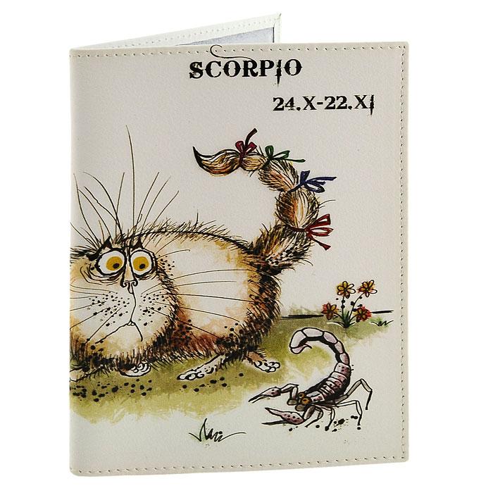 Обложка для паспорта Perfecto Scorpio. PS-ZDCT-08860Обложка для паспорта Скорпион, выполненная из натуральной кожи, оформлена оригинальным изображением забавного кота, символизирующего знак зодиака - скорпион. Такая обложка не только поможет сохранить внешний вид ваших документов и защитит их от повреждений, но и станет стильным аксессуаром, идеально подходящим вашему образу. Обложка для паспорта стильного дизайна может быть достойным и оригинальным подарком.Характеристики: Материал: натуральная кожа, пластик.Размер (в сложенном виде): 9,5 см x 13,5 см.Производитель: Россия.Артикул: PS-ZDCT-08.