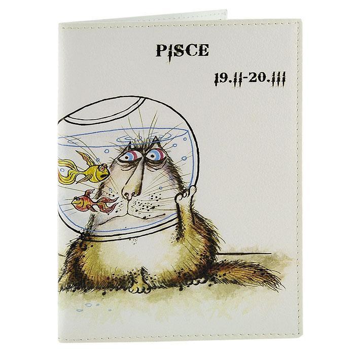 Обложка для паспорта Perfecto Pisces. PS-ZDCT-12INT-06501Обложка для паспорта Рыбы, выполненная из натуральной кожи, оформлена оригинальным изображением забавного кота символизирующего знак зодиака - рыбы. Такая обложка не только поможет сохранить внешний вид ваших документов и защитит их от повреждений, но и станет стильным аксессуаром, идеально подходящим вашему образу. Обложка для паспорта стильного дизайна может быть достойным и оригинальным подарком. Характеристики: Материал: натуральная кожа, пластик.Размер (в сложенном виде): 9,5 см x 13,5 см.Производитель: Россия.Артикул:PS-ZDCT-12.