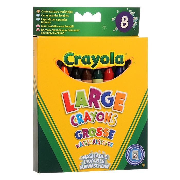 """Набор """"Big Washable Crayons"""" состоит из 8 разноцветных восковых мелков, которые легко смываются с рук и одежды. Мелки выполнены в форме карандашей синего, фиолетового, черного, коричневого, желтого, зеленого, красного и оранжевого цветов. Восковые мелки предназначены для рисования по бумаге и являются альтернативой привычным цветным карандашам. Они изготовлены из натурального пчелиного воска с добавлением растительных красок, поэтому безвредны для ребенка, даже если он попробует их на вкус. Восковые мелки отлично передают цвета и имеют широкую гамму оттенков. Восковые мелки """"Crayola"""" обеспечивают качество цвета и линии на уровне лучших цветных карандашей, а в плане цены и практичности значительно выигрывают у последних."""