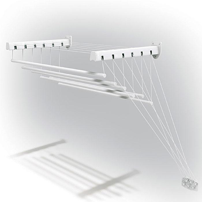 Сушилка для белья Gimi Lift 180, настенно-потолочнаяGC204/30Сушилка Gimi Lift 180 представляет собой пластиковые стержни, закрепленные при помощи направляющих шнуров на стальных кронштейнах, которые в свою очередь крепятся на стене или потолке. Специальный механизм обеспечивает подъем и опускание стержней, что значительно облегчает процесс развешивания белья. Стержни сушилки, на которые развешивается белье, устанавливаются до нужного для вас уровня, в зависимости от вашего роста.Сушилку можно установить в любом удобном для вас месте квартиры или балкона. Характеристики:Материал: сталь, пластмасса, текстиль. Длина стержня: 1,8 м. Максимальный вес (белья): 15 кг. Длина кронштейна: 43 см. Максимальное расстояние от кронштейна до опущенного стержня: 135 см. Размер упаковки: 182 см х 5,5 см х 10 см. Артикул: 10460188. УВАЖАЕМЫЕ КЛИЕНТЫ! Обращаем ваше внимание, что изображенные на последних двух фотографиях полотенца не входят в комплектацию товара, а служит лишь для демонстрации способа эксплуатации данной сушилки.