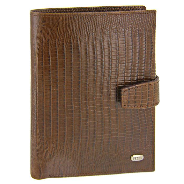 Обложка для паспорта и автодокументов Petek, цвет: коричневый. 596.041.02GCVM00-000000-F9113O-K100Обложка для паспорта и автодокументов Petek выполнена из натуральной кожи коричневого цвета с декоративным тиснением под рептилию. Внутри состоит из отделения для паспорта, шести отделений из прозрачного пластика для автодокументов и двух сетчатых карманов. Также есть отделение для купюр. Обложка закрывается небольшим хлястиком на кнопку. Обложка упакована в фирменную коробку с логотипом фирмы.Такая обложка станет замечательным подарком человеку, ценящему качественные и практичные вещи. Характеристики: Материал: натуральная кожа, текстиль. Цвет: коричневый. Размер обложки (в закрытом виде): 14 см x 10,5 см х 2 см. Размер упаковки: 15 см x 11,5 см x 2,5 см. Изготовитель: Турция. Артикул: 596.041.02. Фирма PETEK была основана в 1855 году в Македонии, в городе Велес. Товары, выпускаемые под маркой PETEK, всегда отличаются высоким качеством. Все изделия выполнены из качественной кожи. Вы сможете найти все, что вам может понадобиться: начиная от футляра для ключей и портмоне, до сумок, портфелей и ремней. Аксессуары марки PETEK - качество и традиции, проверенные временем.