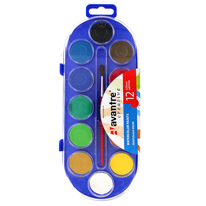 Краски акварельные Avantre, 12 цветов0775B001Акварельные краски на растительной основе Avantre прекрасно подойдут для детского художественного творчества, изобразительных и оформительных работ. Краски мягко ложатся на бумагу, легко смешиваются между собой, не крошатся и не смазываются.Набор содержит краски 12 ярких насыщенных цветов и кисточку из натурального ворса пони на деревянном древке с многослойной лакировкой. В процессе рисования у детей развивается наглядно-образное мышление, воображение, мелкая моторика рук, творческие и художественные способности, вырабатывается усидчивость и аккуратность. Характеристики:Диаметр краски: 3 см. Длина кисточки: 13 см. Размер упаковки: 25,5 см x 10 см x 1,5 см. Изготовитель: Италия.