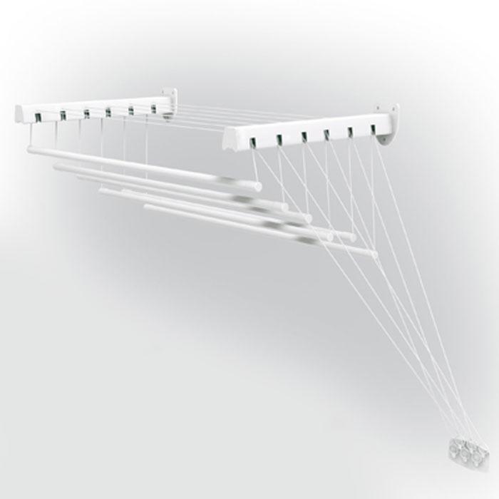Сушилка для белья Gimi Lift 120, настенно-потолочная10460123Сушилка Gimi Lift 120 представляет собой пластиковые стержни, закрепленные при помощи направляющих шнуров на стальных кронштейнах, которые в свою очередь крепятся на стене или потолке. Специальный механизм обеспечивает подъем и опускание стержней, что значительно облегчает процесс развешивания белья. Стержни сушилки, на которые развешивается белье, устанавливаются до нужного для вас уровня, в зависимости от вашего роста.Сушилку можно установить в любом удобном для вас месте квартиры или балкона. Характеристики:Материал: сталь, пластмасса, текстиль. Общая длина стержней: 7 м. Диаметр стержня: 1,2 см. Длина одного стержня: 1,2 м. Максимальный вес (белья): 15 кг. Длина кронштейна: 43 см. Максимальное расстояние от кронштейна до опущенного стержня: 1,35 м. Размер упаковки: 121 см х 10 см х 5 см. Изготовитель: Италия. Артикул: 10460123. УВАЖАЕМЫЕ КЛИЕНТЫ! Обращаем ваше внимание, что изображенные на последних двух фотографиях полотенца не входят в комплектацию товара, а служит лишь для демонстрации способа эксплуатации данной сушилки.