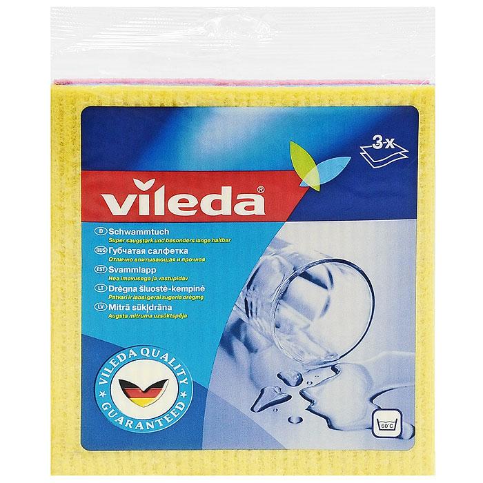 Набор салфеток Vileda, губчатых , 3 штK100Набор губчатых салфеток Vileda предназначен для уборки любых видов поверхности. Салфетки сделаны из натуральных материалов - целлюлозы и хлопка, которые гарантируют отличное впитывание. Впитывают в 10 раз больше своего веса. Можно стирать при температуре до 60°C (ручная стирка). Характеристики:Материал: 70% целлюлоза, 30% хлопок. Размер салфетки: 18 см х 20 см. Комплектация: 3 шт. Изготовитель: Швеция. Артикул: 4012581.