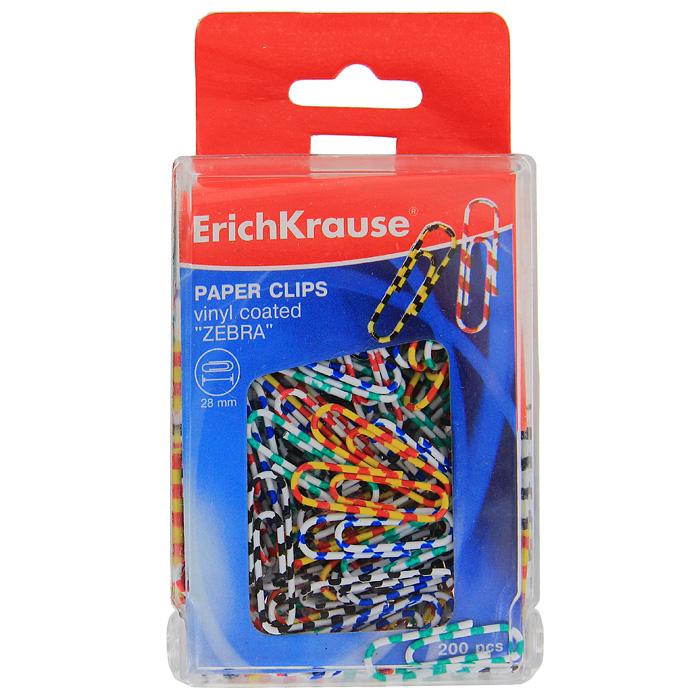 """Скрепки Erich Krause """"Зебра"""" - это универсальный офисный инструмент. Скрепки изготовлены из высококачественной металлической проволоки, обтянутой пластиком в цветную полоску. Скрепки Erich Krause """"Зебра"""" обеспечат не только надежное скрепление документов и офисных бумаг, но и добавят ярких красок на ваш рабочий стол."""