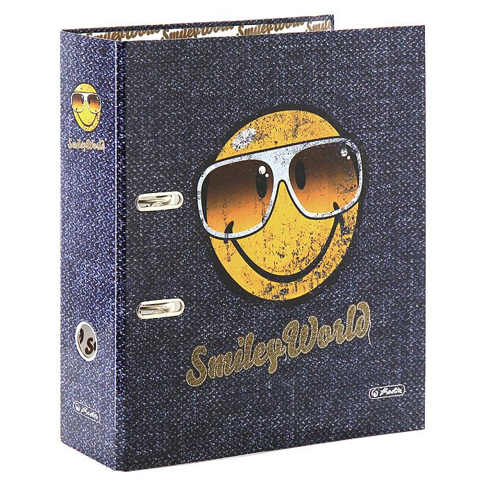 Папка-регистратор Herlitz Smiley WorldIPF410/BKОригинальная и практичная ламинированная папка-регистратор Smiley World в эффектной обложке непременно вызовет у вас улыбку и поможет преодолеть рутину. Рисунок нанесен не только на внешнюю, но и на внутреннюю сторону. Прорези для колец арочного механизма и круглое окошко на корешке делают папку максимально удобной в работе.Характеристики:Материал: картон, металл. Размер папки: 28 см х 31,8 см х 8 см.