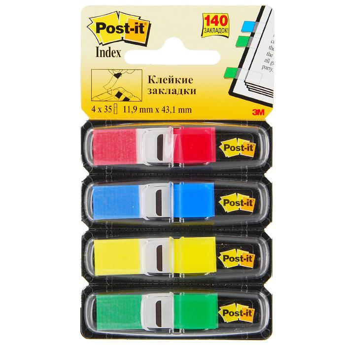 Закладки самоклеящиеся Post-it, 140 шт0703415Разнообразие цвета классических узких закладок Post-itпомогут выделить и отметить нужную информацию, организовать цветовое кодирование страниц и разделов. Специальная Z-укладка позволяет извлекать закладки одной рукой. Прозрачная клейкая часть закладки не закрывает текст, а уникальный клеевой состав позволяет многократно переклеивать закладку, не повреждая и не пачкая страниц. В комплекте закладки четырех цветов, каждый из которых располагается в индивидуальном контейнере. Характеристики:Цвет:красный, синий, желтый, зеленый. Размер закладки: 1,19 см х 4,31 см. Размер упаковки: 12 см х 7 см. Количество: 4 х 35 шт.
